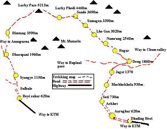 Manaslu circuit trekking route map